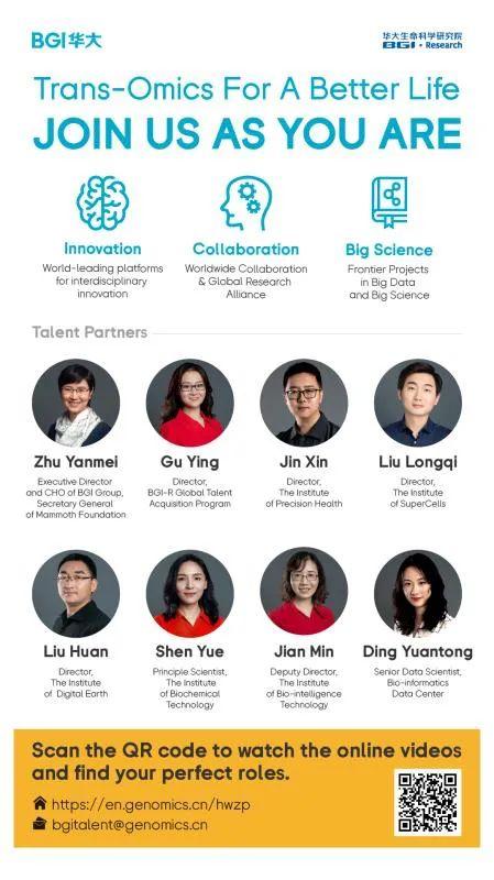 【就业资讯】华大生命科学研究院全球人才招募|BGI Research Global Talent Acquisition