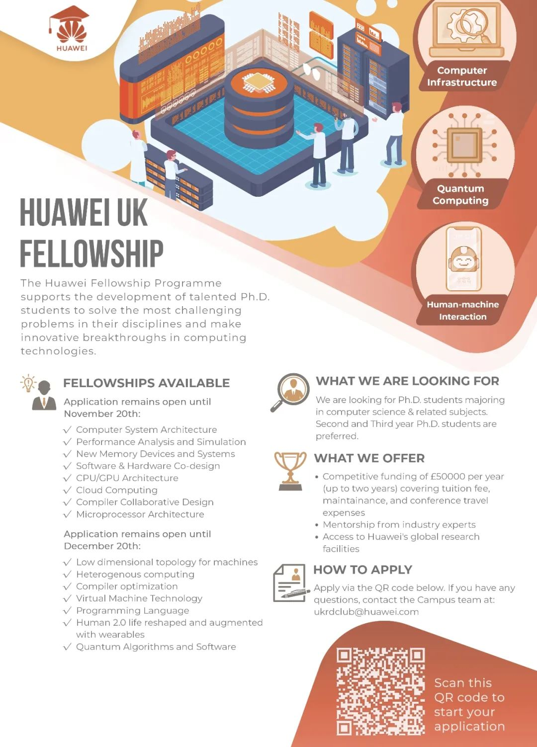 【就业资讯】Huawei UK Fellowship Program Releases New Topics